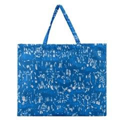 Glossy Abstract Teal Zipper Large Tote Bag