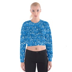Glossy Abstract Teal Cropped Sweatshirt