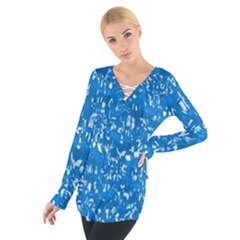 Glossy Abstract Teal Women s Tie Up Tee