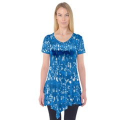 Glossy Abstract Teal Short Sleeve Tunic