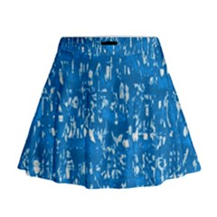 Glossy Abstract Teal Mini Flare Skirt