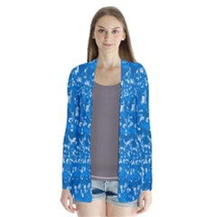 Glossy Abstract Teal Drape Collar Cardigan