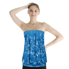 Glossy Abstract Teal Strapless Top