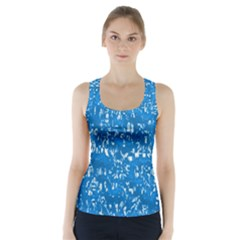 Glossy Abstract Teal Racer Back Sports Top