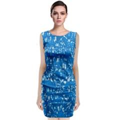 Glossy Abstract Teal Sleeveless Velvet Midi Dress