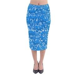 Glossy Abstract Teal Velvet Midi Pencil Skirt