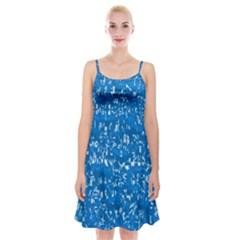 Glossy Abstract Teal Spaghetti Strap Velvet Dress