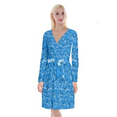 Glossy Abstract Teal Long Sleeve Velvet Front Wrap Dress