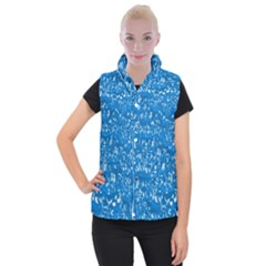 Glossy Abstract Teal Women s Button Up Puffer Vest