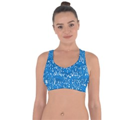 Glossy Abstract Teal Cross String Back Sports Bra