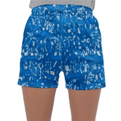Glossy Abstract Teal Sleepwear Shorts
