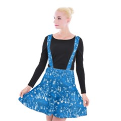 Glossy Abstract Teal Suspender Skater Skirt