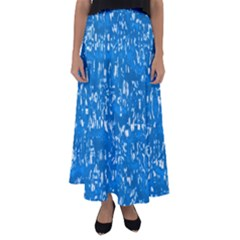 Glossy Abstract Teal Flared Maxi Skirt