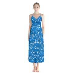 Glossy Abstract Teal Button Up Chiffon Maxi Dress