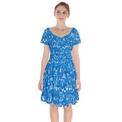 Glossy Abstract Teal Short Sleeve Bardot Dress
