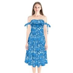 Glossy Abstract Teal Shoulder Tie Bardot Midi Dress