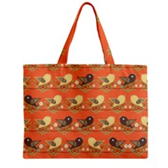 Birds Pattern Zipper Mini Tote Bag