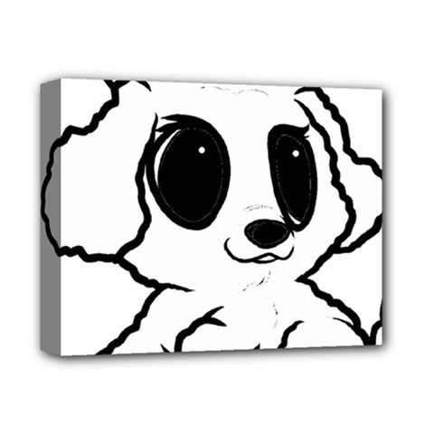 Poodle Cartoon White Deluxe Canvas 14  x 11