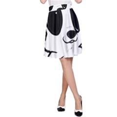 Poodle Cartoon White A-Line Skirt