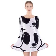 Poodle Cartoon White Long Sleeve Velvet Skater Dress