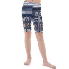 Boise Music And Appliance Radio Repair Painted Sign Kids  Mid Length Swim Shorts
