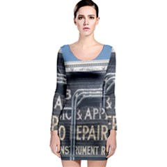 Boise Music And Appliance Radio Repair Painted Sign Long Sleeve Bodycon Dress