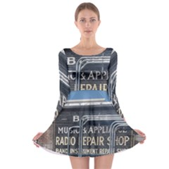 Boise Music And Appliance Radio Repair Painted Sign Long Sleeve Skater Dress