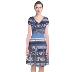 Boise Music And Appliance Radio Repair Painted Sign Short Sleeve Front Wrap Dress