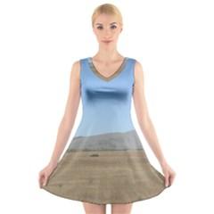 Bruneuo Sand Dunes 2 V-Neck Sleeveless Skater Dress