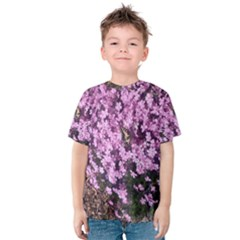 Butterfly On Purple Flowers Kids  Cotton Tee