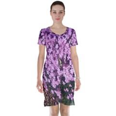 Butterfly On Purple Flowers Short Sleeve Nightdress