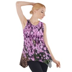 Butterfly On Purple Flowers Side Drop Tank Tunic