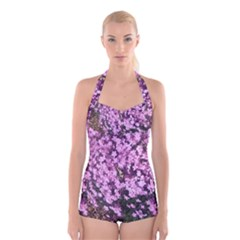 Butterfly On Purple Flowers Boyleg Halter Swimsuit