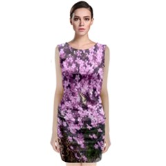Butterfly On Purple Flowers Classic Sleeveless Midi Dress