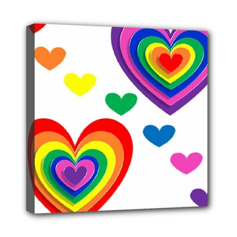 Pride Hearts Bg Mini Canvas 8  x 8