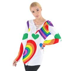 Pride Hearts Bg Women s Tie Up Tee