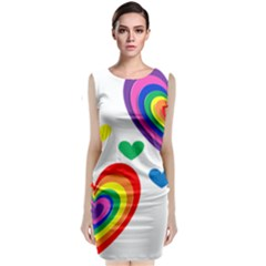 Pride Hearts Bg Classic Sleeveless Midi Dress