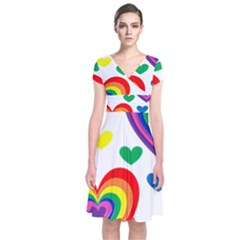 Pride Hearts Bg Short Sleeve Front Wrap Dress