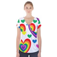 Pride Hearts Bg Short Sleeve Front Detail Top