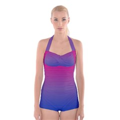 Bi Colors Boyleg Halter Swimsuit