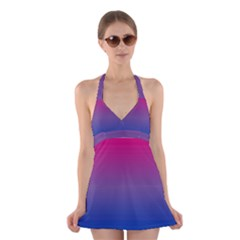 Bi Colors Halter Swimsuit Dress