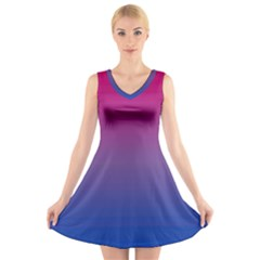 Bi Colors V-Neck Sleeveless Skater Dress