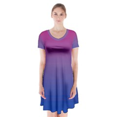 Bi Colors Short Sleeve V-neck Flare Dress