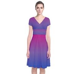 Bi Colors Short Sleeve Front Wrap Dress