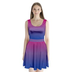 Bi Colors Split Back Mini Dress