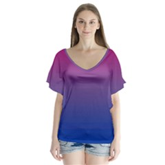 Bi Colors Flutter Sleeve Top