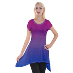 Bi Colors Short Sleeve Side Drop Tunic