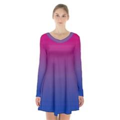 Bi Colors Long Sleeve Velvet V-neck Dress