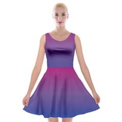 Bi Colors Velvet Skater Dress