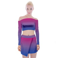Bi Colors Off Shoulder Top with Skirt Set